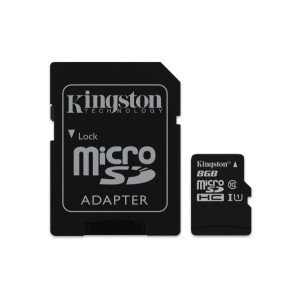 Карта памяти Kingston microSDHC UHS-I 8GB сlass10+SD (SDC10/8GB)