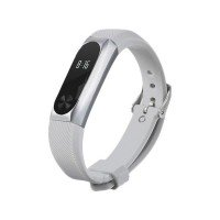 Ремешок резина+метал для Xiaomi Mi Band 2 with metal fastening Gray-Silver