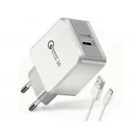Зарядное устройство Qualcomm Quick USB Charge 3.0 + Micro USB/Type C кабель